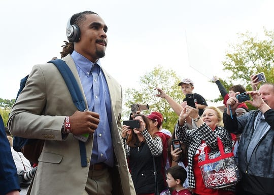 Nov 18, 2017; Tuscaloosa, AL, USA; Alabama Crimson Tide quarterback Jalen Hurts (2) into the stadium prior to the game against the Mercer Bears at Bryant-Denny Stadium. Mandatory Credit: Adam Hagy-USA TODAY Sports