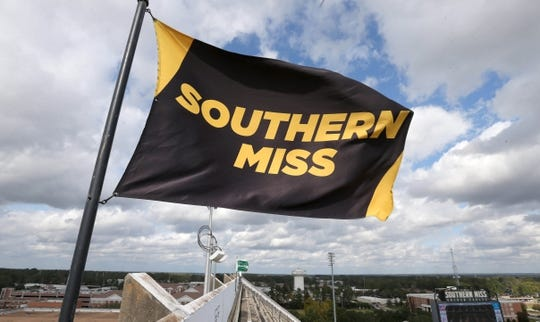 Nov 18, 2017; Hattiesburg, MS, USA; A Southern Miss flag waves atop M. M. Roberts Stadium before the game between the Southern Miss Golden Eagles and the Charlotte 49ers. Mandatory Credit: Chuck Cook-USA TODAY Sports