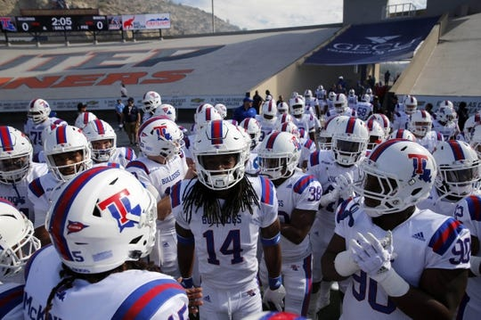 Nov 18, 2017; El Paso, TX, USA; Louisiana Tech Bulldogs before running onto the field to face the UTEP Miners at Sun Bowl. Mandatory Credit: Ivan Pierre Aguirre-USA TODAY Sports