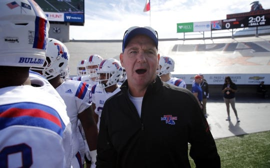 Nov 18, 2017; El Paso, TX, USA; Louisiana Tech Bulldogs head coach Skip Holtz walks out onto the field before facing the UTEP Miners at Sun Bowl. Mandatory Credit: Ivan Pierre Aguirre-USA TODAY Sports