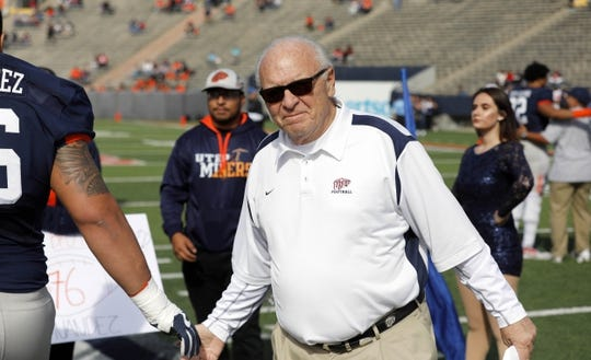 Nov 18, 2017; El Paso, TX, USA; UTEP Miners interim head coach Mike Price greets his players before facing the Louisiana Tech Bulldogs at Sun Bowl. Mandatory Credit: Ivan Pierre Aguirre-USA TODAY Sports