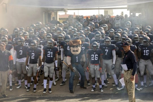 Nov 18, 2017; El Paso, TX, USA; UTEP Miners prepare to run onto the field to face the Louisiana Tech Bulldogs at Sun Bowl. Mandatory Credit: Ivan Pierre Aguirre-USA TODAY Sports