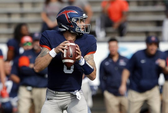Nov 18, 2017; El Paso, TX, USA; UTEP Miners quarterback Zack Greenlee (8) drops back to throw the ball against the Louisiana Tech Bulldogs at Sun Bowl. Mandatory Credit: Ivan Pierre Aguirre-USA TODAY Sports
