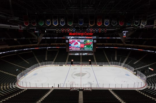 Nov 24, 2017; Saint Paul, MN, USA; A general view of the Xcel Energy Center prior to the game against the Minnesota Wild and Colorado Avalanche. Mandatory Credit: Harrison Barden-USA TODAY Sports