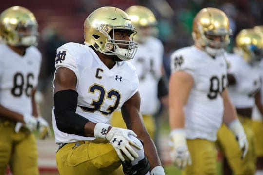 Nov 25, 2017; Stanford, CA, USA; Notre Dame Fighting Irish running back Josh Adams (33) warms up before the game against the Stanford Cardinal at Stanford Stadium. Mandatory Credit: Sergio Estrada-USA TODAY Sports