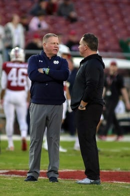 Nov 25, 2017; Stanford, CA, USA; Notre Dame Fighting Irish head coach Brian Kelly during warm ups before the game against the Stanford Cardinal at Stanford Stadium. Mandatory Credit: Sergio Estrada-USA TODAY Sports