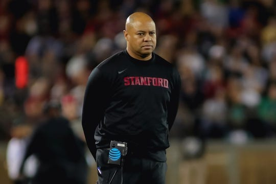 Nov 25, 2017; Stanford, CA, USA; Stanford Cardinal head coach David Shaw looks on during the second quarter against the Notre Dame Fighting Irish at Stanford Stadium. Mandatory Credit: Sergio Estrada-USA TODAY Sports