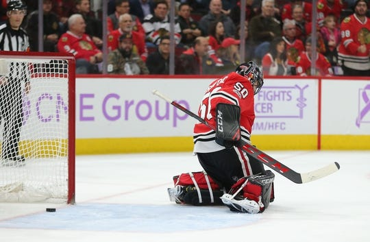 Nov 27, 2017; Chicago, IL, USA; Anaheim Ducks center Chris Wagner (not pictured) scores a goal past Chicago Blackhawks goalie Corey Crawford (50) during the second period at the United Center. Mandatory Credit: Dennis Wierzbicki-USA TODAY Sports