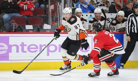 Nov 27, 2017; Chicago, IL, USA; Anaheim Ducks left wing Nick Ritchie (37) skates past Chicago Blackhawks defenseman Duncan Keith (2) during the second period at the United Center. Mandatory Credit: Dennis Wierzbicki-USA TODAY Sports