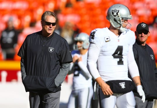 Dec 10, 2017; Kansas City, MO, USA; Oakland Raiders head coach Jack Del Rio watches warmups before the game against the Kansas City Chiefs at Arrowhead Stadium. Mandatory Credit: Jay Biggerstaff-USA TODAY Sports
