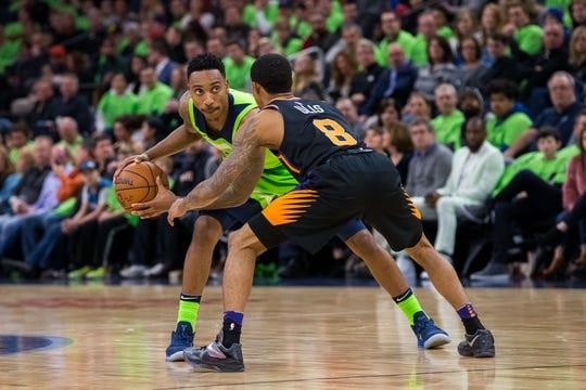 Dec 16, 2017; Minneapolis, MN, USA; Phoenix Suns guard Tyler Ulis (8) defends Minnesota Timberwolves guard Jeff Teague (0) in the second quarter at Target Center. Mandatory Credit: Brad Rempel-USA TODAY Sports