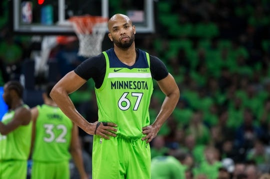 Dec 16, 2017; Minneapolis, MN, USA; Minnesota Timberwolves forward Taj Gibson (67) reacts to a call in the first quarter against the Phoenix Suns at Target Center. Mandatory Credit: Brad Rempel-USA TODAY Sports