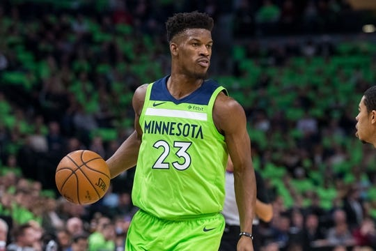 Dec 16, 2017; Minneapolis, MN, USA; Minnesota Timberwolves forward Jimmy Butler (23) dribbles in the first quarter against the Phoenix Suns at Target Center. Mandatory Credit: Brad Rempel-USA TODAY Sports