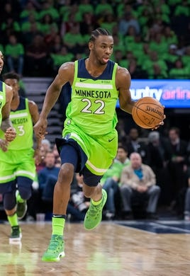 Dec 16, 2017; Minneapolis, MN, USA; Minnesota Timberwolves guard Andrew Wiggins (22) dribbles in the first quarter against the Phoenix Suns at Target Center. Mandatory Credit: Brad Rempel-USA TODAY Sports