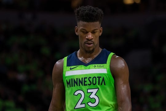 Dec 16, 2017; Minneapolis, MN, USA; Minnesota Timberwolves forward Jimmy Butler (23) in the second quarter against the Phoenix Suns at Target Center. Mandatory Credit: Brad Rempel-USA TODAY Sports