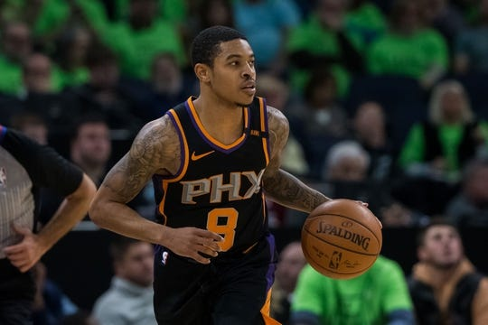 Dec 16, 2017; Minneapolis, MN, USA; Phoenix Suns guard Tyler Ulis (8) dribbles in the third quarter against the Minnesota Timberwolves at Target Center. Mandatory Credit: Brad Rempel-USA TODAY Sports