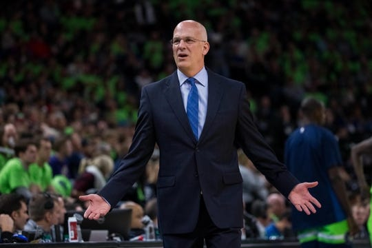 Dec 16, 2017; Minneapolis, MN, USA; Phoenix Suns interim head coach Jay Triano reacts to a call in the third quarter against the Minnesota Timberwolves at Target Center. Mandatory Credit: Brad Rempel-USA TODAY Sports