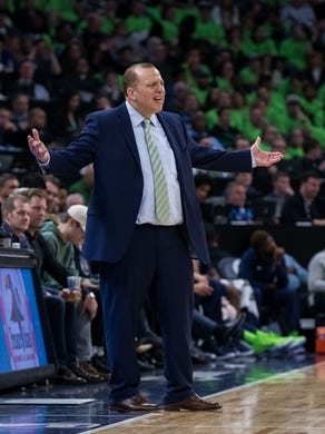 Dec 16, 2017; Minneapolis, MN, USA; Minnesota Timberwolves head coach Tom Thibodeau reacts to a call in the third quarter against the Phoenix Suns at Target Center. Mandatory Credit: Brad Rempel-USA TODAY Sports