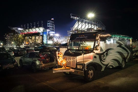 Dec 25, 2017; Philadelphia, PA, USA; Philadelphia Eagles fans decorate their van on Christmas night before a game against the Oakland Raiders at Lincoln Financial Field. Mandatory Credit: Bill Streicher-USA TODAY Sports