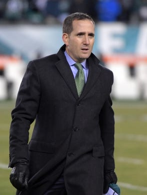 Dec 25, 2017; Philadelphia, PA, USA; Philadelphia Eagles general manager Howie Roseman during an NFL football game Oakland Raiders at Lincoln Financial Field. Mandatory Credit: Kirby Lee-USA TODAY Sports