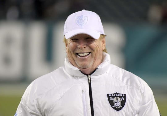 Dec 25, 2017; Philadelphia, PA, USA; Oakland Raiders owner Mark Davis reacts during an NFL football game against the Philadelphia Eagles  at Lincoln Financial Field. Mandatory Credit: Kirby Lee-USA TODAY Sports