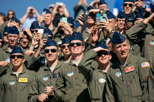 Oct 14, 2017; Colorado Springs, CO, USA; Air Force Cadets watch the flyover before the game between the Air Force Falcons and the UNLV Rebels at Falcon Stadium. Mandatory Credit: Isaiah J. Downing-USA TODAY Sports
