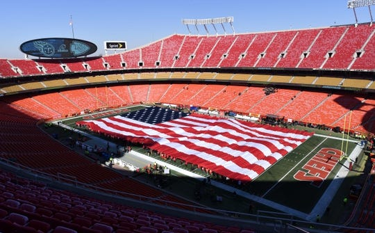 Jan 6, 2018; Kansas City, MO, USA; Workers practice unfurling the American flag before the AFC Wild Card playoff football game between the Kansas City Chiefs and the Tennessee Titans at Arrowhead Stadium. Mandatory Credit: Denny Medley-USA TODAY Sports
