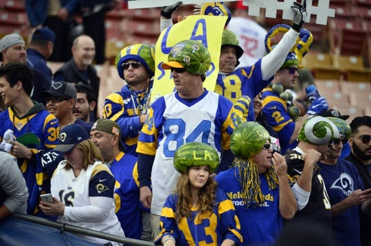 January 6, 2018; Los Angeles, CA, USA; Los Angeles Rams fans in attendance before the Rams play against the Atlanta Falcons in the NFC Wild Card playoff football game at the Los Angeles Memorial Coliseum. Mandatory Credit: Gary A. Vasquez-USA TODAY Sports