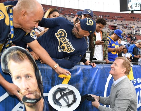Jan 6, 2018; Los Angeles, CA, USA; NFL commissioner Roger Goodell visits with fans at the NFC Wild Card playoff football game between the Los Angeles Rams and the Atlanta Falcons at Los Angeles Memorial Coliseum. Mandatory Credit: Kirby Lee-USA TODAY Sports
