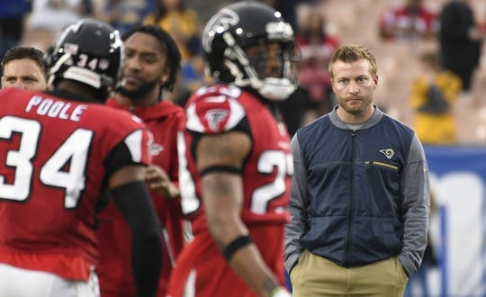 Jan 6, 2018; Los Angeles, CA, USA; Los Angeles Rams head coach Sean McVay looks on before the NFC Wild Card playoff football game against the Atlanta Falcons at Los Angeles Memorial Coliseum. Mandatory Credit: Robert Hanashiro-USA TODAY Sports