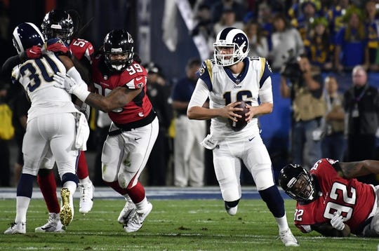 Jan 6, 2018; Los Angeles, CA, USA; Los Angeles Rams quarterback Jared Goff (16) looks to pass against the Atlanta Falcons in the first quarter in the NFC Wild Card playoff football game at Los Angeles Memorial Coliseum. Mandatory Credit: Robert Hanashiro-USA TODAY Sports