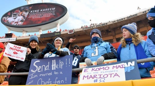 Jan 6, 2018; Kansas City, MO, USA; Tennessee Titans fans show their support before the game against the Kansas City Chiefs in the AFC Wild Card playoff football game at Arrowhead stadium. Mandatory Credit: Denny Medley-USA TODAY Sports