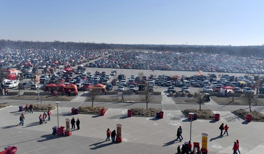 Jan 6, 2018; Kansas City, MO, USA; The parking lots as fans tailgate before the game between the Kansas City Chiefs and Tennessee Titans in the AFC Wild Card playoff football game at Arrowhead stadium. Mandatory Credit: Denny Medley-USA TODAY Sports