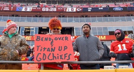 Jan 6, 2018; Kansas City, MO, USA; Kansas City Chiefs fans show their support before the game against the Tennessee Titans in the AFC Wild Card playoff football game at Arrowhead stadium. Mandatory Credit: Denny Medley-USA TODAY Sports
