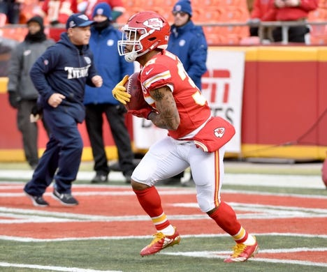 Jan 6, 2018; Kansas City, MO, USA; Kansas City Chiefs running back Charcandrick West (35) warms up before the game against the Tennessee Titans in the AFC Wild Card playoff football game at Arrowhead stadium. Mandatory Credit: Denny Medley-USA TODAY Sports
