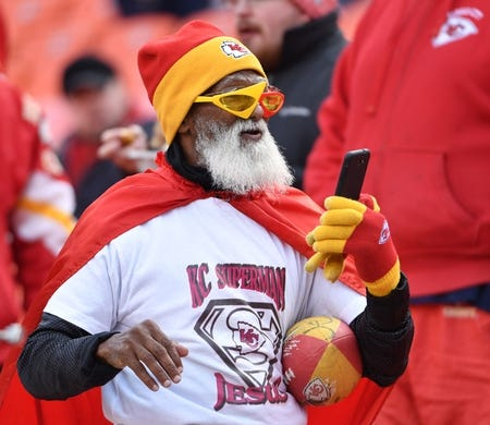 Jan 6, 2018; Kansas City, MO, USA; A Kansas City Chiefs fan shows his support before the game against the Tennessee Titans in the AFC Wild Card playoff football game at Arrowhead stadium. Mandatory Credit: Denny Medley-USA TODAY Sports