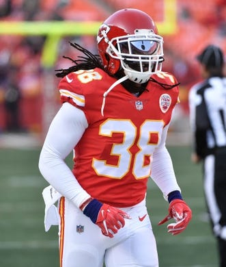 Jan 6, 2018; Kansas City, MO, USA; Kansas City Chiefs free safety Ron Parker (38) warms up before the game against the Tennessee Titans in the AFC Wild Card playoff football game at Arrowhead stadium. Mandatory Credit: Denny Medley-USA TODAY Sports
