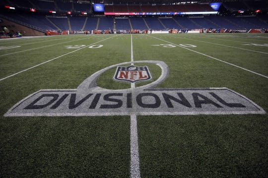 Jan 13, 2018; Foxborough, MA, USA; General view of the Divisional NFL logo on the field prior to the AFC Divisional playoff game between the New England Patriots and the Tennessee Titans at Gillette Stadium. Mandatory Credit: David Butler II-USA TODAY Sports