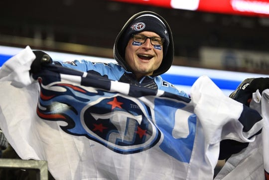 Jan 13, 2018; Foxborough, MA, USA; Darrell Conklin of New York shows his team loyalty before the AFC Divisional Playoff game between the Tennessee Titans and the New England Patriots at Gillette Stadium. Mandatory Credit: Andrew Nelles/The Tennessean via USA TODAY NETWORK