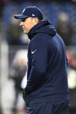 Jan 13, 2018; Foxborough, MA, USA; Tennessee Titans head coach Mike Mularkey watches warmups before the AFC Divisional Playoff game against the New England Patriots at Gillette Stadium. Mandatory Credit: George Walker IV /The Tennessean via USA TODAY NETWORK