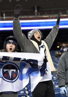 Jan 13, 2018; Foxborough, MA, USA; Tennessee Titans fans Kyle Monaco of Orange County, NY and Sal Manfredi of Mount Olive, NJ cheer for the team before the AFC Divisional Playoff game against the New England Patriots at Gillette Stadium. Mandatory Credit: George Walker IV /The Tennessean via USA TODAY NETWORK