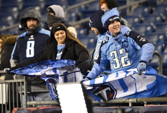 Jan 13, 2018; Foxborough, MA, USA; Tennessee  Titans fans watch warmups before the AFC Divisional Playoff game between the Tennessee Titans and the New England Patriots at Gillette Stadium. Mandatory Credit: Andrew Nelles/The Tennessean via USA TODAY NETWORK