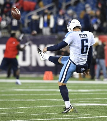 Jan 13, 2018; Foxborough, MA, USA; Tennessee Titans punter Brett Kern (6) gets in some kicks before the AFC Divisional Playoff game between the Titans and the New England Patriots at Gillette Stadium. Mandatory Credit: Andrew Nelles/The Tennessean via USA TODAY NETWORK