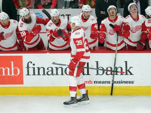 Jan 14, 2018; Chicago, IL, USA; Detroit Red Wings right wing Anthony Mantha (39) is congratulated for scoring  a goal during the third period against the Chicago Blackhawks at the United Center. Detroit won 4-0. Mandatory Credit: Dennis Wierzbicki-USA TODAY Sports