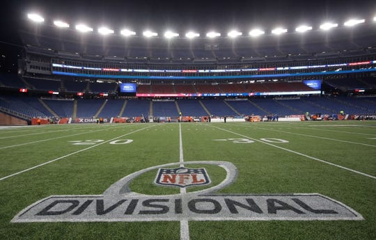 Jan 13, 2018; Foxborough, MA, USA; Divisional Playoff sign on the field before the start of the game against the New England Patriots and Tennessee Titans in the AFC Divisional playoff game at Gillette Stadium. Mandatory Credit: David Butler II-USA TODAY Sports