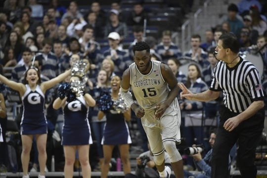 Feb 10, 2018; Washington, DC, USA;  Georgetown Hoyas center Jessie Govan (15) runs up to court after making a basket during the first half against the Seton Hall Pirates at Capital One Arena. Mandatory Credit: Tommy Gilligan-USA TODAY Sports