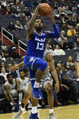 Feb 10, 2018; Washington, DC, USA;  Seton Hall Pirates guard Myles Powell (13) makes a move to the basket during the first half against the Georgetown Hoyas at Capital One Arena. Mandatory Credit: Tommy Gilligan-USA TODAY Sports