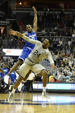 Feb 10, 2018; Washington, DC, USA;  Georgetown Hoyas forward Marcus Derrickson (24) is fouled by Seton Hall Pirates guard Khadeen Carrington (0) on the game winning three point shot with 4.5 seconds left in the second half at Capital One Arena. Mandatory Credit: Tommy Gilligan-USA TODAY Sports