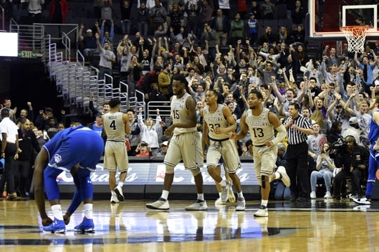 Feb 10, 2018; Washington, DC, USA; Georgetown Hoyas runs off the court after defeating against the Seton Hall Pirates at Capital One Arena. Mandatory Credit: Tommy Gilligan-USA TODAY Sports