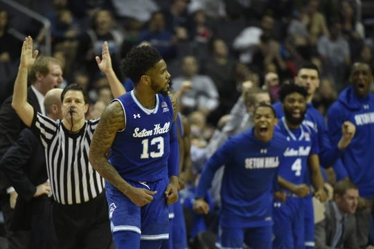 Feb 10, 2018; Washington, DC, USA;  Seton Hall Pirates bench reacts after  guard Myles Powell (13) makes a three point shot in the second half against the Georgetown Hoyas at Capital One Arena. Mandatory Credit: Tommy Gilligan-USA TODAY Sports